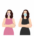 two girls in a different medical mask vector image