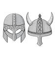 viking helmets hand drawn sketch white background vector image