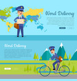 world delivery set of two pictures with postmen vector image vector image