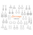 fashionable earrings collection hand drawn vector image