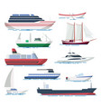 sea ship and boats set vector image