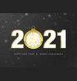 2021 happy new year greeting card gold paper cut vector image