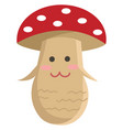 a smiling cartoon mushroom or color vector image vector image