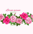 bright pink roses seamless floral design vector image