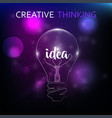 bulb light idea creative think brain mind business vector image