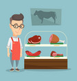 butcher offering fresh meat in a butchershop vector image vector image