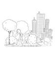 cartoon man leaving big city vector image