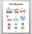 city elements flat pack vector image