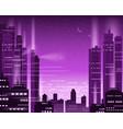 cityscape metropolis night lights of a big city vector image vector image