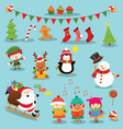 collection cute christmas elements vector image