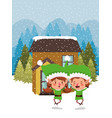 couple santa helpers in snowscape vector image