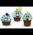 cute and colorful kawaii style muffin emoticons vector image