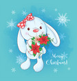cute christmas card with cartoon bunny and a vector image vector image