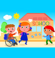 disabled boy going to school with friends vector image vector image