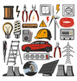 electricity power and electric tools icons vector image