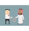 european and arabian businessmen making business vector image vector image