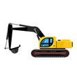 excavator cartoon yellow construction vehicle vector image vector image