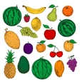 Fresh and ripe fruits colored sketches vector image