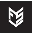 fs logo monogram with emblem shield style design vector image vector image