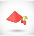 goji berries powder flat icon vector image vector image