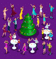 isometric celebration of christmas 3d dancing vector image