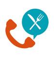 knife fork cutlery call vector image