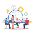 large desk employees sitting businesswoman vector image vector image