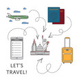 lets travel poster in linear style vector image vector image