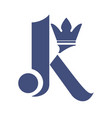 letter k with crown logo design vector image