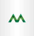 letter m with green triangles icon vector image vector image