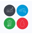 Mailbox video monitoring and water drop icons vector image vector image
