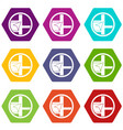 map navigation icon set color hexahedron vector image vector image