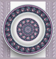 plate with abstract decorative ornament vector image