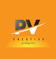 pv p v letter modern logo design with yellow vector image vector image