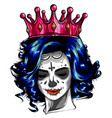 queen death portrait a skull with a crown vector image vector image