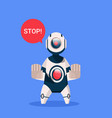 robot showing stop sign cyborg isolated on blue vector image