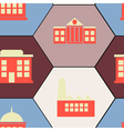Seamless background with town buildings vector image