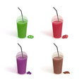 set different drinks in plastic cup with lid vector image