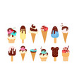 set ice cream with different colorful flavours vector image vector image