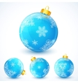 Set of blue Christmas balls vector image