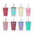 set of plastic fastfood cup for beverages with vector image vector image