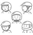 set people wearing helmet vector image
