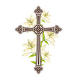 silhouette of ornate cross with lilies happy vector image vector image