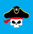 skull pirate portrait in hat eye patch filibuster vector image vector image