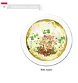 Soto Ayam or Indonesian Rice Noodle Soup vector image vector image