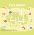 summer fruits crossword educational crossword vector image vector image