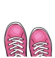 Summer trendy sports shoes Pink sneakers vector image