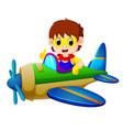 superhero boy riding flying plane vector image vector image