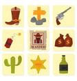 Vintage western cowboys signs american vector image