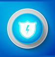 white secure shield with lightning icon isolated vector image